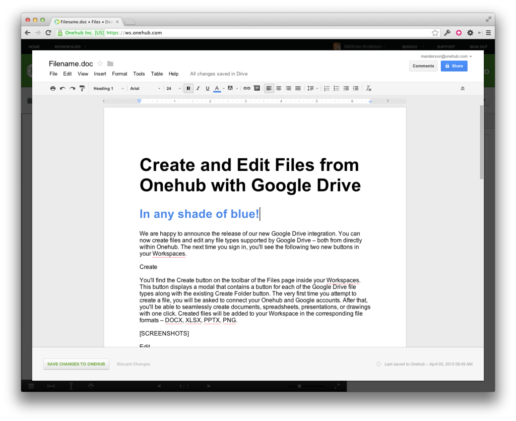 Editing a Google Document