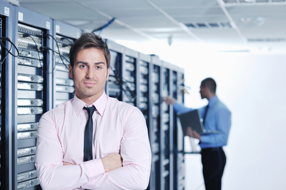 man standing in front of virtual data room